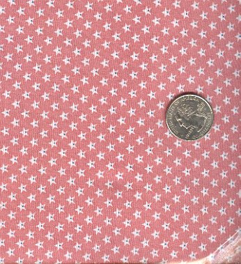 Sewing Fabric Cotton Small Print Stars on Rose Pink  No. 207