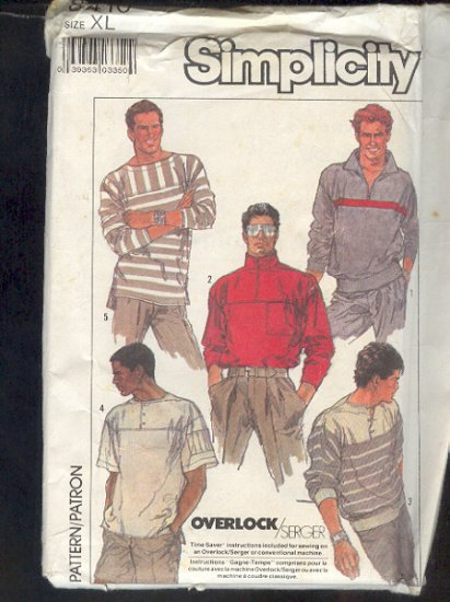 "Sewing Pattern Simplicity 8410, Men's Sport Tops, five styles XL 46-48"" chest"