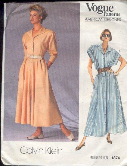 Sewing Pattern, Vogue, Calvin Klein 1874 Classic Dress, Size  16