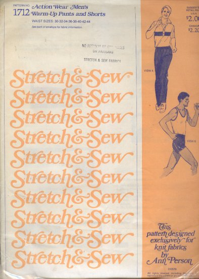 Stretch & Sew Sewing Pattern  1712 Men's Warm Up Pants and Shorts, Sizes 30 - 44 waist