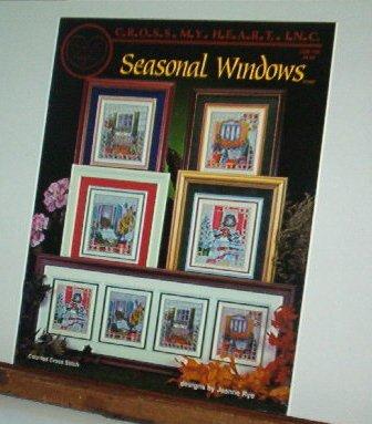 Cross Stitch Patterns - Four Designs - SEASONAL WINDOWS
