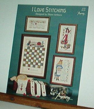 Cross Stitch Patterns, I Love Stitching, checker board and cute girls 6 designs