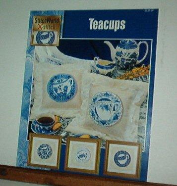 Cross Stitch Patterns, Flow Blue Teacups, three designs