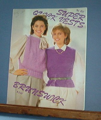 Knitting Pattern, Brunswick 853 Super Quick Vests for women