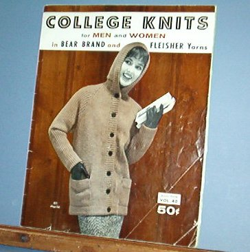 Vintage Knitting Pattern College Knits Bear Brand #40, 1958  24 designs for men and women
