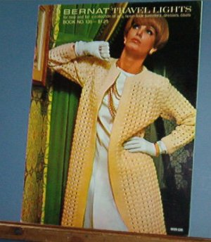 Vintage knitting patterns 1966, Bernat 135 women's sweaters, dresses, coats, 20 designs