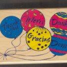 "Rubber Stamp - Scrapbooking - Inkadinkado -  wood mount - New - Thank You Baloons - 3"" X 4"""