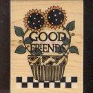 Rubber Stamp - Scrapbooking - Wood Mount - Debbie Mumm -  New - Good Friends  2.5 X 3.5 inches