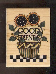 Rubber Stamp - Scrapbooking - Wood Mount - Debbie Mumm -  New - Good Friends  2.5 X 3.5 inches