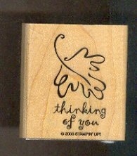 Rubber Stamp - Scrapbooking - Wood Mount - New  - Leaf, thinking of you, 2.25X1.75""