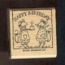 "Rubber Stamp - Scrapbooking - Wood Mount  - New -  Stampin Up  - Happpy Birthday w mice 2"" X 2"""