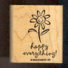 Rubber Stamp - Scrapbooking - Wood Mount -  New  - Stampin Up - Happy Everything 2 X 1.5""