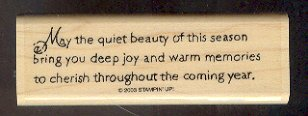 Rubber Stamp - Scrapbooking - Wood Mount -  New  - Stampin Up - Beauty of the Season 1 X 4""
