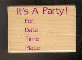Rubber Stamp - Scrapbooking -  Wood Mounted  - Hero Arts - Used - Party Invite 3 X 2""