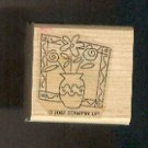 Rubber Stamp Scrapbooking - Wood Mounted - New - Stampin Up -Vase Flowers 1.5 X 1.5""