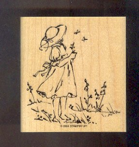 Rubber Stamp Scrapbooking - Wood Mounted - New - Sweet Girl - 3X 3