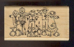 Rubber Stamp Scrapbooking - Wood Mounted - Stampin Up - New - Halloween Scarecrows -  2 X 3.75""