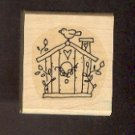 Rubber Stamp Scrapbooking - Wood Mount - Stampin U p  - Used - Birdhouse 1.5X1.5""