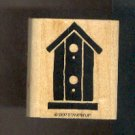 Rubber Stamp Scrapbooking - Wood Mount - Stampin Up - Used - Birdhouse - 2 X 1.5""