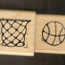 Rubber Stamp Scrapbooking - Wood Mount - Used - D.O.T.S. - Basketball & Net 1.5X 1.5""