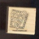 """Rubber Stamp Scrapbooking - Wood Mount - Stampin Up  - Used - Heart in Frame 1.5X1.5"""""""
