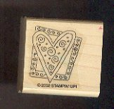 Rubber Stamp Scrapbooking - Wood Mount - Stampin Up  - Used - Heart in Frame 1.5X1.5""