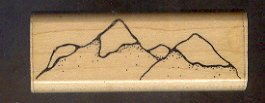 Rubber Stamp Scrapbooking - Wood Mount - D.O.T.S. - New - Mountains - 1X3""