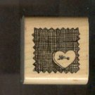 Rubber Stamp Scrapbooking - Wood Mount - Used - D.O.T.S. - Heart Button 1.5X1.5""