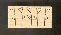 Rubber Stamp Scrapbooking - Wood Mount - Memory Box - Used - Hearts as flowers 2.5X 1""