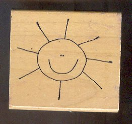 """Rubber Stamp Scrapbooking - Wood Mount - Used - Scrappers - Smiley Sun - 3X 3"""""""