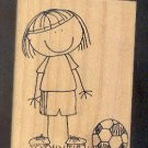 """Rubber Stamp Scrapbooking - Wood Mount - Used - Scrappers - Scoccer Boy 3X4"""""""