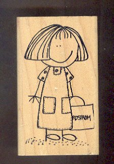 Rubber Stamp Scrapbooking - Wood Mount - Used - Scrappers - Shopping Girl 2X4""