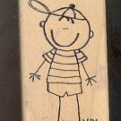 Rubber Stamp Scrapbooking - Wood Mount - Used - Scrappers - Cute Boy 2X4""