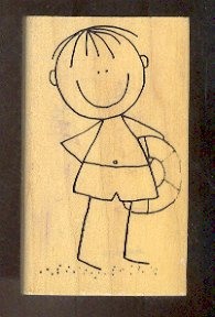 Rubber Stamp Scrapbooking - Wood Mount -  Used - Scrappers - Beach Boy - 2X3.5""