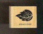 "Rubber Stamp Scrapbooking - Wood Mount -  Stampin Up - Leaf 1X1.25"""