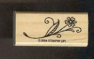 Rubber Stamp Scrapbooking - Wood Mount -  Stampin Up - Flower on stem 1X2""