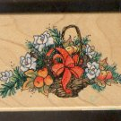 Rubber Stamp Scrapbooking - Wood Mount - Used - Stampendous - Flowers & Fruit BAsket 2.5 X 4""