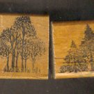 Rubber Stamp Scrapbooking - Wood Mount - Used - Vintage -  2 Trees 2.25 X 1.5""