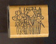 Rubber Stamp Scrapbooking - Wood Mount - Used - Vintage -  Group of Iris Flowers 1.5 X 1.5""