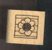 Rubber Stamp Scrapbooking - Wood Mount - D.O.T.S. - New Patchwork Flower 1.5 X 1.5