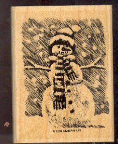 Rubber Stamp Scrapbooking - Wood Mount - New - Stampin Up - Snowman 3X 4""