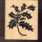 Rubber Stamp Scrapbooking - Wood Mount - Used - Stamp in Hand - Holly Sprig - 2.5X3""