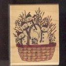 "Rubber Stamp Scrapbooking - Wood Mount - Used - Stampington - Basket Snowmen 2X2.5"""