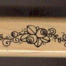 "Rubber Stamp Scrapbooking - Wood Mount - Stampin Up  -  Unused - Rose Vine Border 1X4.5"""
