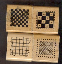 Rubber Stamp Scrapbooking - Wood Mount - D.O.T.S. - Unused - 4 Square Patterns - 1.5 X 1.5""