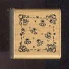 Rubber Stamp Scrapbooking - Wood Mount - D.O.T.S. - Unused - Rose Square 1.5X1.5