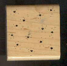 Rubber Stamp Scrapbooking - Wood Mount - D.O.T.S. - Used Confetti Hearts 2X2""