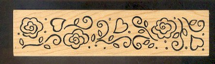Rubber Stamp Scrapbooking - Wood Mount - Used  - Great Impressions - Flower Border 1.25X5.5""