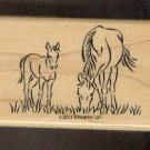 Rubber Stamp Scrapbooking - Wood Mount - New - Stampin Up - Grazing Horses 2X3""