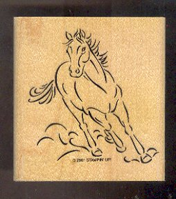 Rubber Stamp Scrapbooking - Wood Mount - New - Stampin Up - Running Horse 3X3""